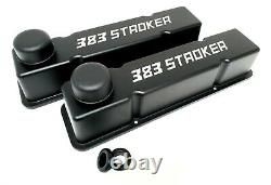 Small Block Chevy Tall Valve Covers, 383 Stroker, Black Powder Coated, Breathers