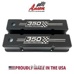 Small Block Chevy Tall Valve Covers (Black) 350 Cubic Inches Logo Ansen USA