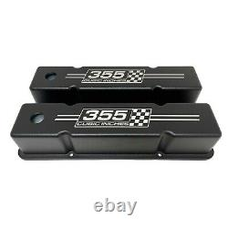 Small Block Chevy Tall Valve Covers (Black) 355 Cubic Inches Logo Ansen USA