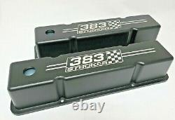 Small Block Chevy Tall Valve Covers (Black) 383 Stroker Logo Ansen USA