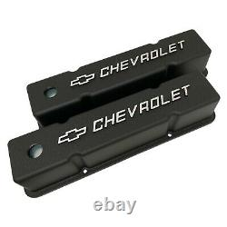 Small Block Chevy Tall Valve Covers Chevrolet & Bowtie Logo Black