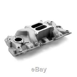 Small Block fit Chevy SBC 350 Aluminum Intake Manifold Mid Rise Dual Plane