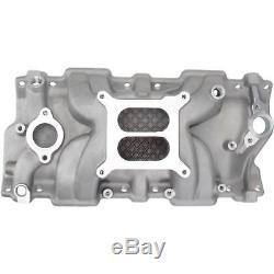 Speedway Small Block Chevy SBC 305 327 350 400 Aluminum Intake Manifold, Satin