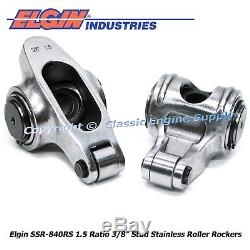 Stainless Steel Roller Rocker Arms 1.5 Ratio 3/8 Studs Chevy 400 350 327 305