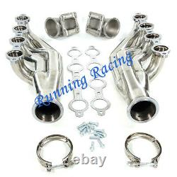 Stainless Turbo Exhaust Manifold LS1 LS6 LSX GM V8 + Elbows T3 T4 to 3.0 V Band