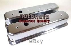 Tall Small Block Chevy 305,350 CenterBolt Polish Aluminum Valve cover Smooth SBC