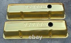 Vintage Gold Anodized Moroso Valve Covers For Small Block Chevrolet Hot Rat Rod