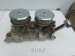 Weiand Chevy Chevrolet Dual-Quad SBC 327 Intake with Holley Carburetors Hotrod